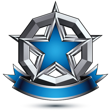 renown: Renown vector silver star with wavy ribbon placed in a circle, 3d sophisticated pentagonal design element, clear  emblem. Illustration