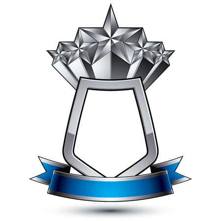 sophisticated: Five vector silver stars with wavy ribbon placed on a protection shield, 3d sophisticated pentagonal design element, clear emblem.