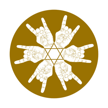 single color: Six rock hands abstract symbol with hexagonal star, single color vector special emblem with human hands.