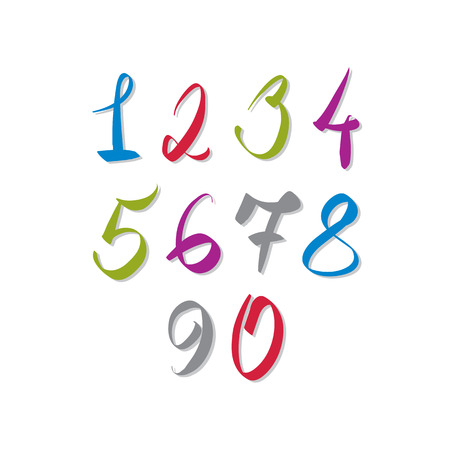 numbers: Calligraphic numbers, vector numbers collection.