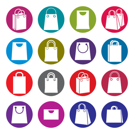 shopping bag icon: Shopping back icons isolated on white background vector set, shopping theme simplistic symbols vector collections.