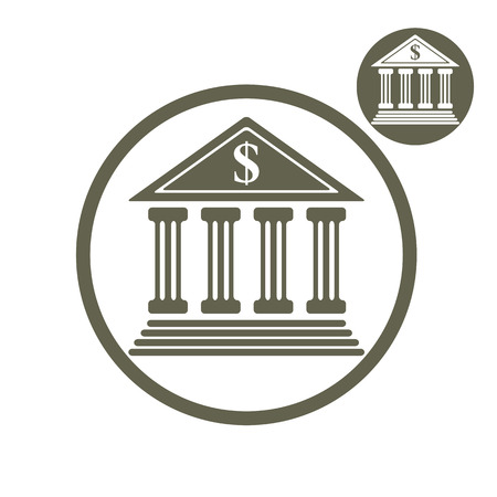 treasury: Bank building vector simple single color icon isolated on white background, includes invert version for you to choose.
