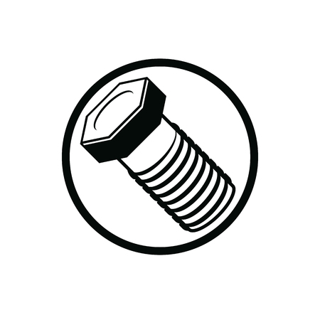 3d  bolt: Bolt 3d detailed illustration. Professional work tools isolated on white. Repair theme three-dimensional monochrome symbol. Illustration
