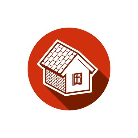 estate planning: Country house constructed with bricks, home symbol. Real estate agency emblem. Conceptual icon for advertising and home insurance business.