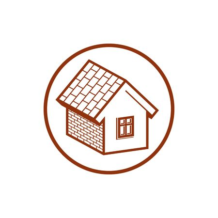 frontage: Country house constructed with bricks, home symbol. Real estate agency emblem. Conceptual icon for advertising and home insurance business.