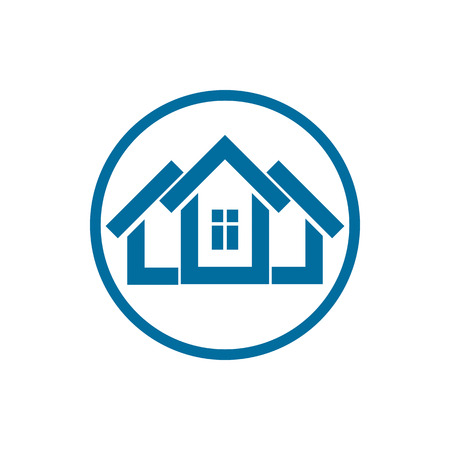 frontage: Home symbol, estate agency emblem, can be used in advertising and web design. Property simple icon isolated on white.