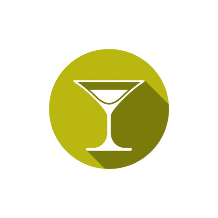 half full: Classic half full martini glass, alcohol and entertainment theme illustration. Party lifestyle graphic goblet isolated.