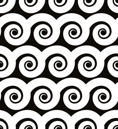 single coil: Curly waves seamless pattern black and white vector background.