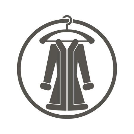 Cloth icon vector illustration of woman coat. Illustration