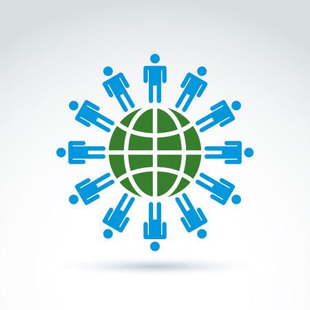 mankind: Green earth and mankind symbolic icon, vector conceptual unusual symbol for your design. Illustration