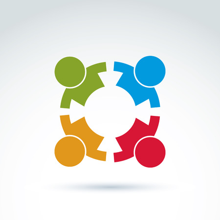 people holding sign: Teamwork and business team and friendship icon, social group, organization, vector conceptual unusual symbol for your design. Illustration