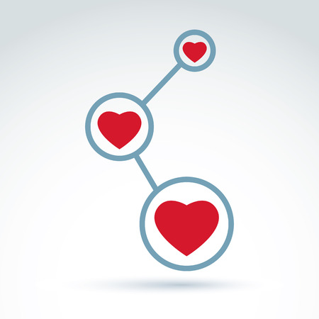 loving: Vector illustration of connection, abstract link symbol, conceptual family relationship icon. Vector society donation symbol, loving heart sign.