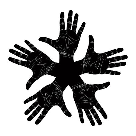 Five open hands abstract symbol, detailed black and white vector illustration, hand sign.