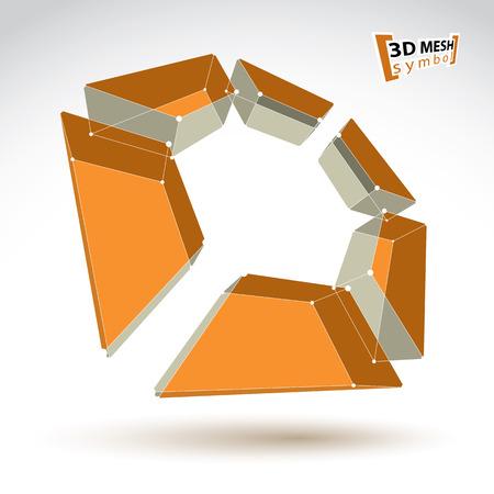 Monochrome 3d Netz Polygonale Abstraktes Objekt Isoliert Auf Weißem ...