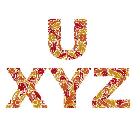 drop cap: Beautiful floral font, decorative letters with vintage pattern. U, X, Y, Z.