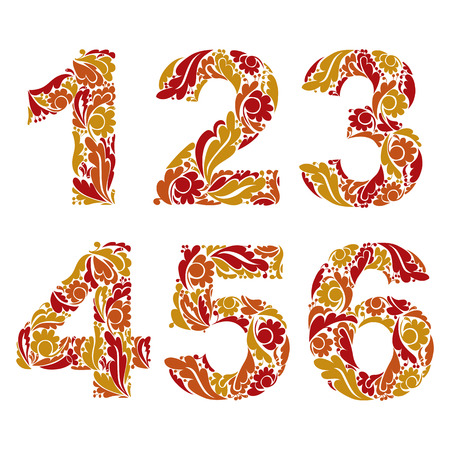 4 5: Stylish figures with herbal ornament. Beautiful numbers with floral pattern 1 2 3 4 5 6.