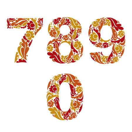 orange pattern: Decorative numerals with natural orange pattern. Flowery digits, calligraphic numbers.