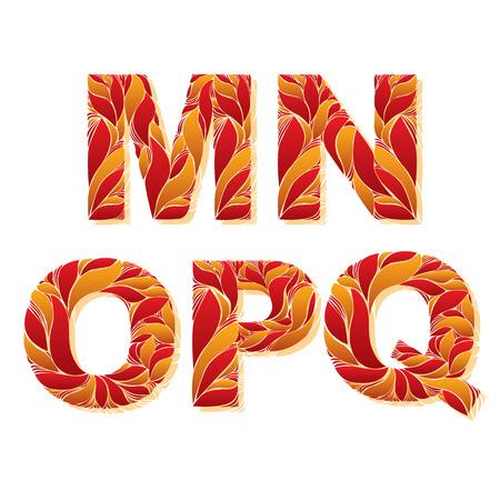 fiery font: Vector Typoskript mit nat�rlichen Herbst-Muster mit saisonalen Orangenbl�ttern dekoriert. Blumige Alphabet, kalliZierGro�Buchstaben, M, N, O, P, Q