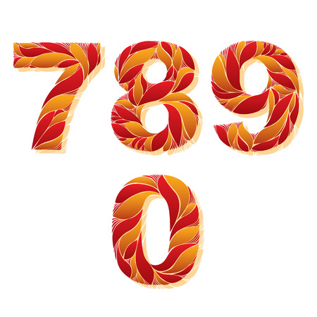 flowery: Decorative numerals with natural pattern. Flowery digits, calligraphic numbers. 7, 8, 9, 0 Illustration