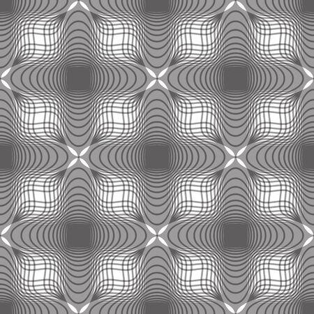 espejismo: Fondo incons�til de la vendimia floral, geom�trico monocrom�tico forrada sin patr�n, ilustraci�n vectorial blanco y negro.