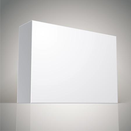 multiplicar: Paquete de diseño de la caja blanca, modelo para el diseño de su paquete, ponga su imagen a través de la caja en modo multiplicar, ilustración vectorial Vectores