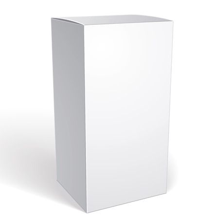 Realistic white package box for products, put your design over the pack in multiply mode, isolated on white background, vector illustration  Vectores