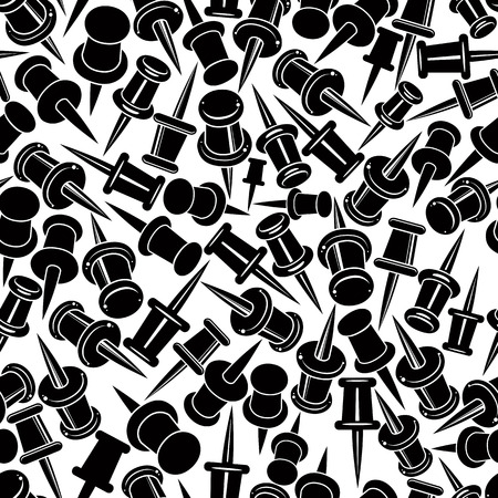 single color: Push pins seamless background, monochrome, single color vector icon set, elements easy to use separately as icons. Illustration