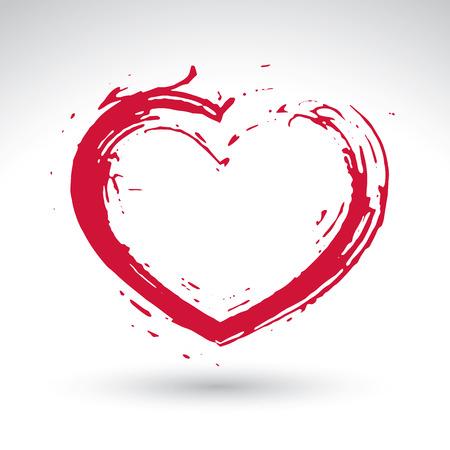 손으로 그려진 된 붉은 사랑 심장 아이콘, 사랑의 심장 기호, 진짜 손으로 그려진 된 잉크 브러시를 사용 하여 만든 스캔 및 vectorized, 흰색 배경에 고립