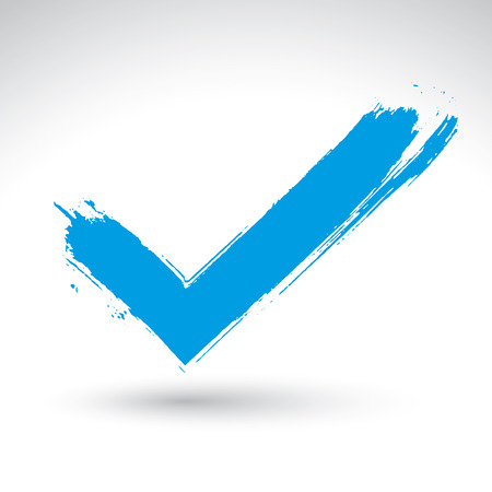 scanned: Hand drawn validation icon scanned and vectorized, brush drawing blue checkmark, hand-painted navigation symbol isolated on white background. Illustration