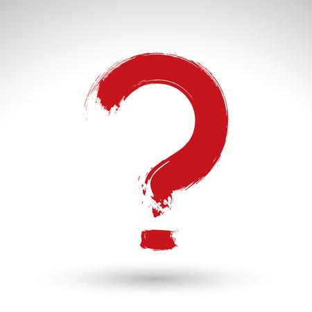 punctuation mark: Mano icono dibujado signo de interrogaci�n, pincel de dibujo signo consulta, marca de puntuacion pintado a mano original aislada en el fondo blanco.