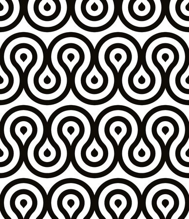 grotesque: Grotesque waves seamless pattern black and white retro style geometric vector background.