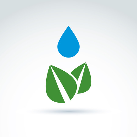 Water drop above leaves icon, floral life, ecology, vector conceptual stylish symbol for your design. Illustration