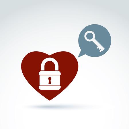 secret love: Vector coraz�n rojo con un candado aislados sobre fondo blanco. S�mbolo del amor secreto, icono intimidad conceptual. La burbuja del discurso de la charla con una llave de un coraz�n amoroso.