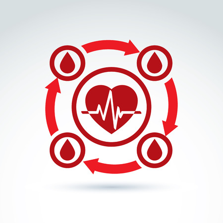 heartbeat line: Vector illustration of a red heart symbol with an ecg placed in a circle, heartbeat line, medical cardiology label. Blood donation symbol, circulatory system icon. Illustration