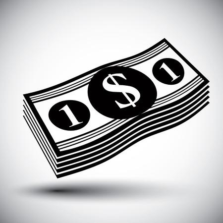 stack of cash: D�lares de dinero en efectivo pila vector icono simple solo color. Vectores