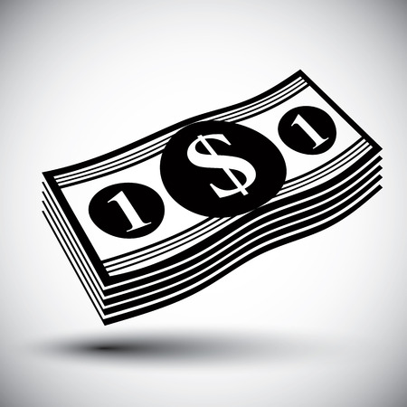 stack of cash: Dollars cash money stack vector simple single color icon.