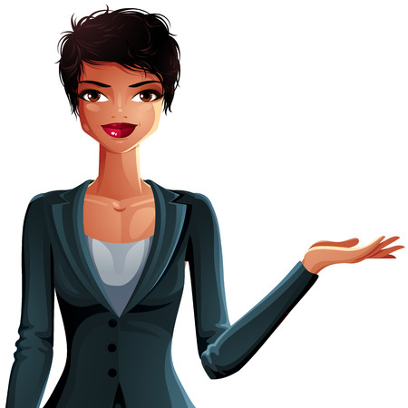 mulatto: Bright drawing of a gorgeous brunette sexy mulatto business lady wearing a jacket, shows something to side with her hand. Female portrait, vector illustration.