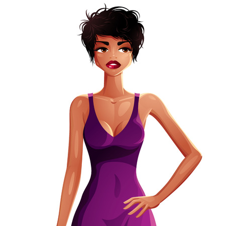 mulatto: Beautiful coquette lady illustration, upper body portrait of a sexy slim brunette wearing a purple nightie. Young pretty mulatto woman holds hand on a waist, isolated on white. Illustration