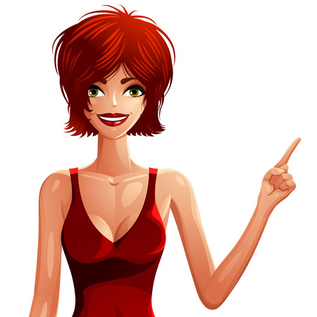 is slender: Attractive white-skin woman wearing a nightie, upper body portrait. Colorful drawing of a cute slender Caucasian girl pointing at something to side with her finger, some empty copy space. Illustration