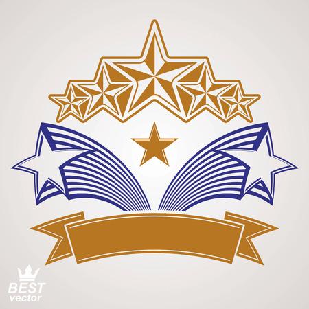 pentagonal: stylized royal symbol. Festive graphic emblem with five pentagonal stars and decorative ribbon