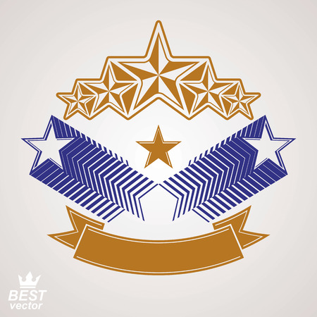 aristocratic: stylized royal symbol. Aristocratic graphic emblem with five pentagonal stars and wavy band Illustration