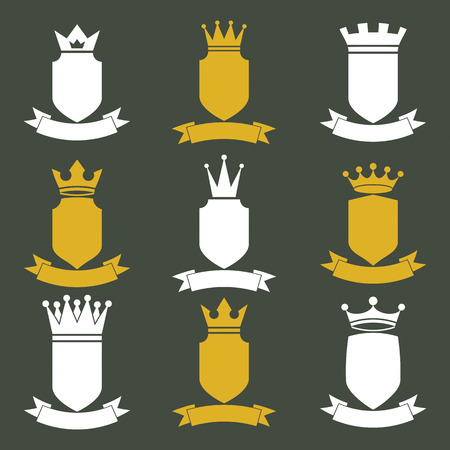 coronet: Collection of empire design elements. Heraldic royal coronet illustration
