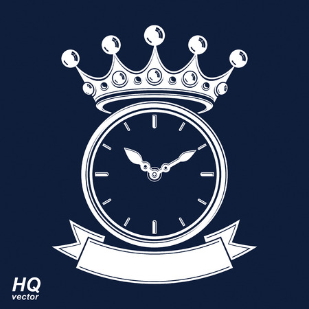 hour hand: Best time management award icon, luxury wall clock with an hour hand on dial