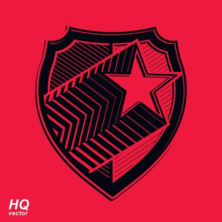 escudo militar: escudo militar con pentagonal estrella cometa, protecci�n her�ldico blas�n sheriff