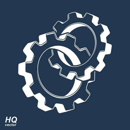 engineering design: 3d conceptual industry system icon, cog wheels merged, gears Illustration