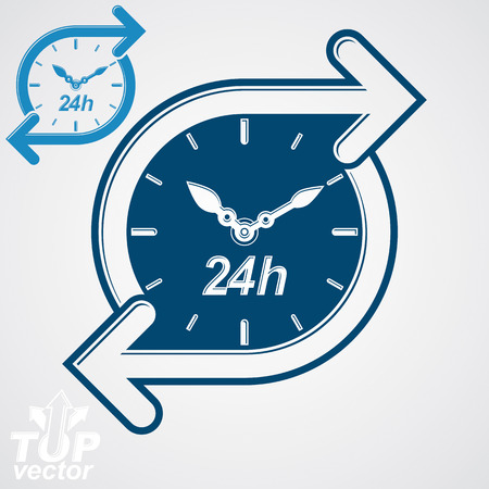 24 hours: Simple 24 hours timer, around-the-clock flat pictogram