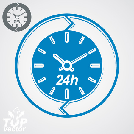 Graphic web 24 hours timer, around-the-clock flat pictogram Vector