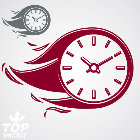 burning time: Time is running out concept, timer with burning flame Illustration