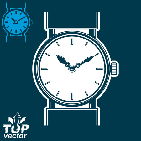 interim: white wristwatch graphic illustration isolated on dark background, detailed strap watch