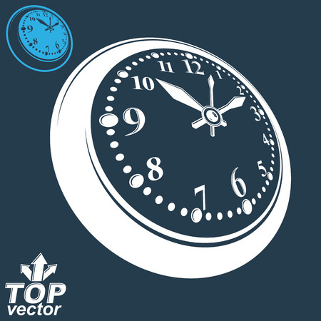 inverse: 3d round wall clock with black dial, includes inverse version Illustration